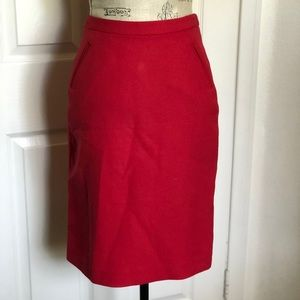 J. Crew Red Pencil Skirt Size 2